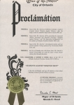Proclamation from the Mayor of Orlando, Florida.