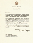 Thank You letter from President Reagan for delivering personal Birthday Greeting to Her Majesty Queen Sirikit.