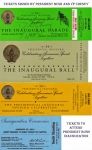 Presidential Inaugural Tickets - The green ticket is signed by President Bush and Vice-President Cheney