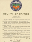 Proclamation from County Of Orange - Miss Orange County 1987