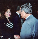 Meeting Presiden Bush Senior at a fundraising event before singing the National Anthem
