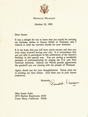 President Reagan Letter thanking me for delivering his Birthday Greeting to the Queen of Thailand