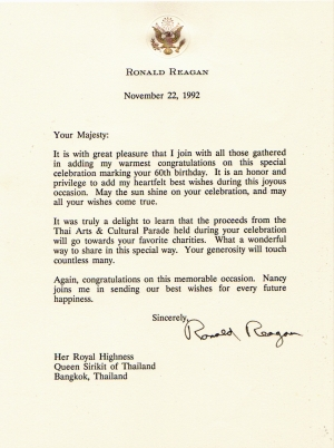 Jeske her majesty queen sirikit of thailand president reagan birthday greeting letter to her majesty queen sirikit bookmarktalkfo Choice Image