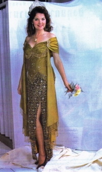 Susan wore this gown in the Charity Fashion Shows. It was presented to Susan as a gift from the Thai Arts and Cultural C