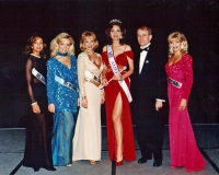 Ms. America & her court with the founder/owner of the pageant Richard Simon.