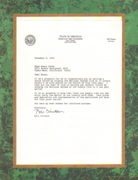 Susan jeske congratulation letter from president elect bill clinton for setting a world record by singing the national anthem thecheapjerseys Choice Image